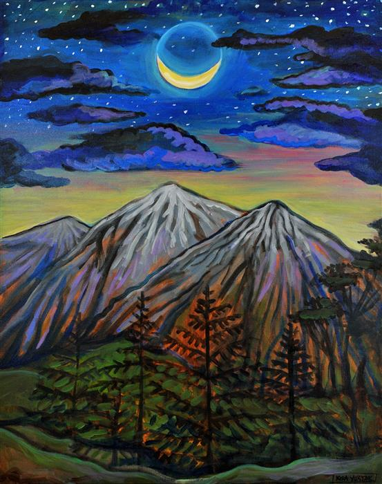 Original art for sale at UGallery.com | Winter Moon by KIRA YUSTAK | $900 | Acrylic painting | 30' h x 24' w | http://www.ugallery.com/acrylic-painting-winter-moon-42770