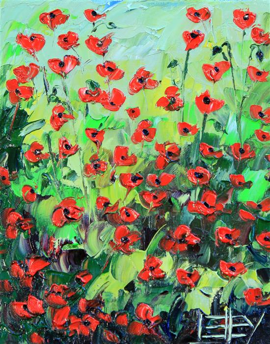 Discover Original Art by Lisa Elley | Poppy Garden oil painting | Art for Sale Online at UGallery