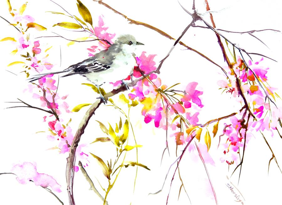 Discover Original Art by Suren Nersisyan | Mockingbird and Cherry Blossom watercolor painting | Art for Sale Online at UGallery