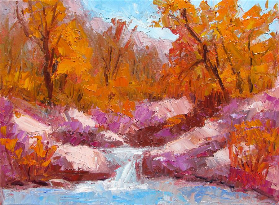 Original art for sale at UGallery.com | Sabino Canyon Autumn by ROGER ALDERMAN | $1,250 | Oil painting | 12' h x 16' w | http://www.ugallery.com/oil-painting-sabino-canyon-autumn
