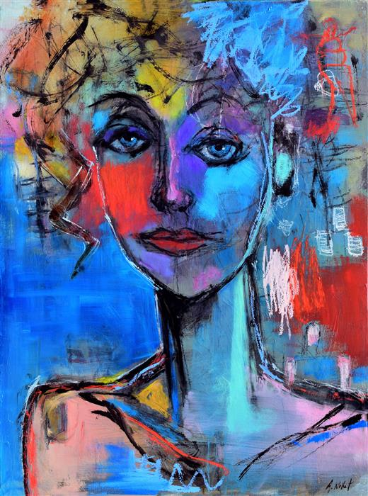 Discover Original Art by Allen Wittert | Moody Blue Woman oil painting | Art for Sale Online at UGallery