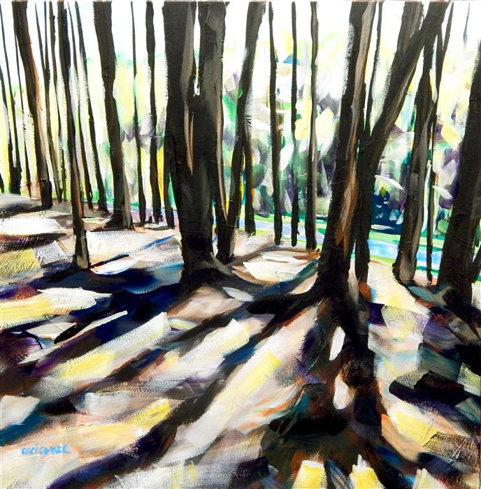 Original art for sale at UGallery.com | Pine Shadows by CHRIS WAGNER | $700 | Acrylic painting | 20' h x 20' w | http://www.ugallery.com/acrylic-painting-pine-shadows
