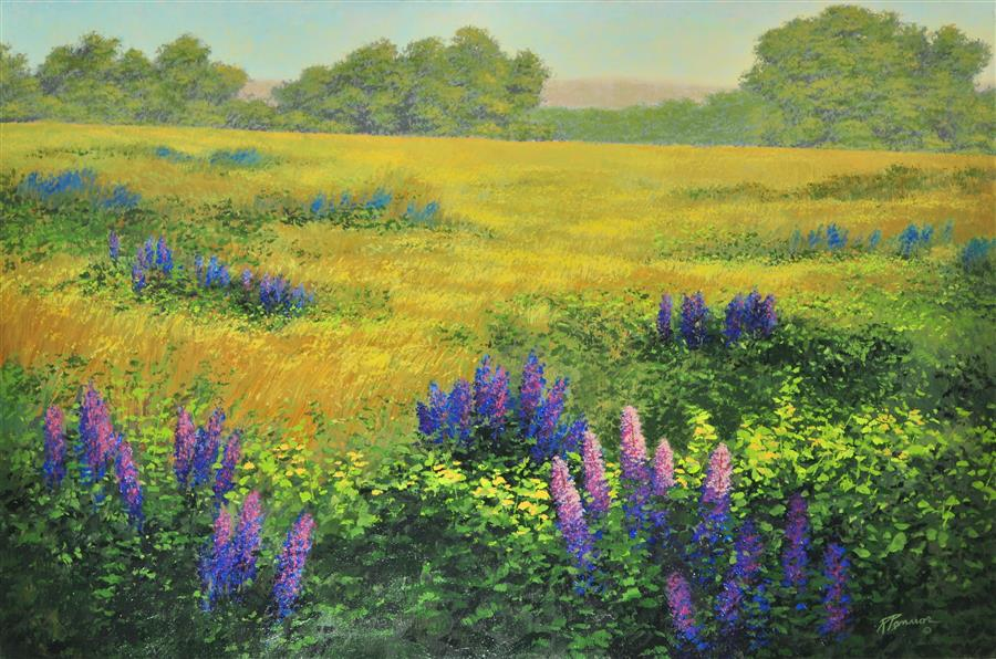 Discover Original Art by Robert Pennor | Lupines acrylic painting | Art for Sale Online at UGallery