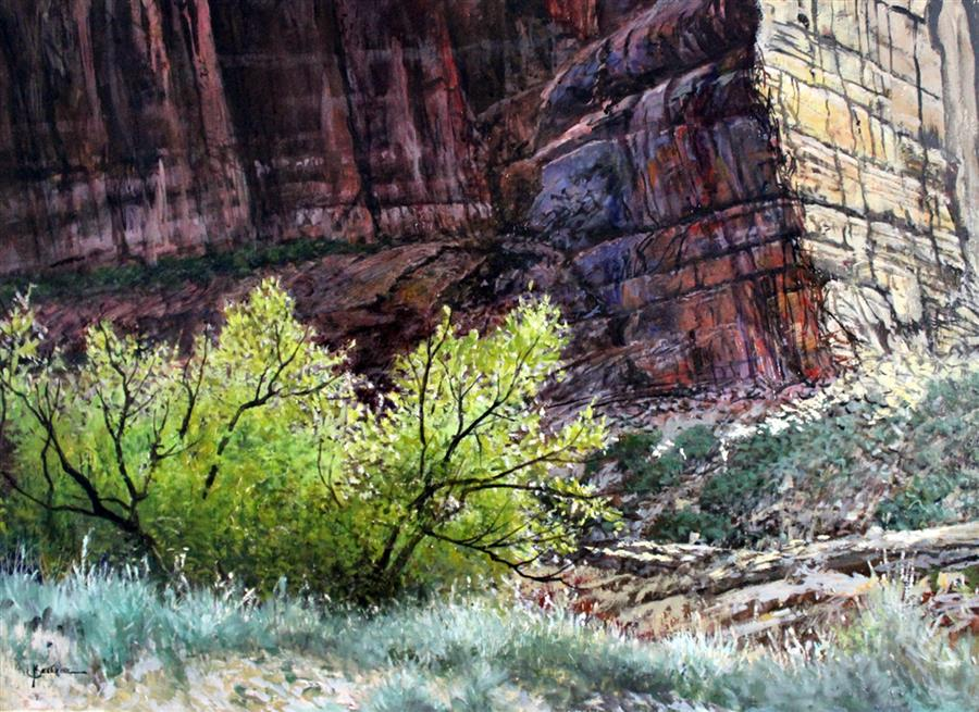 Original art for sale at UGallery.com | Canyon Wall by KENT SULLIVAN | $2,575 | Oil painting | 18' h x 24' w | http://www.ugallery.com/oil-painting-canyon-wall