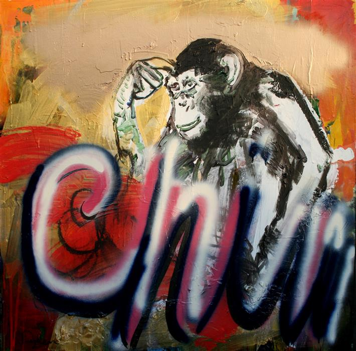 Original art for sale at UGallery.com | Always Chimpy by SCOTT DYKEMA | $2,575 | Mixed media artwork | 36' h x 36' w | http://www.ugallery.com/mixed-media-artwork-always-chimpy