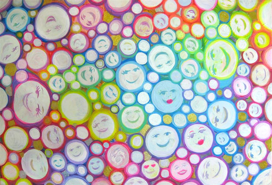 Original art for sale at UGallery.com | Smiling Faces by NATASHA TAYLES | $900 | Acrylic painting | 24' h x 36' w | http://www.ugallery.com/acrylic-painting-smiling-faces