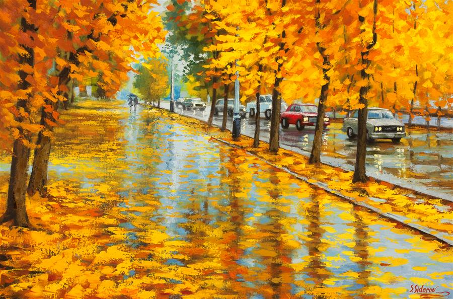 Original art for sale at UGallery.com | Damp Autumn Day by STANISLAV SIDOROV | $1,725 | Oil painting | 24' h x 36' w | http://www.ugallery.com/oil-painting-damp-autumn-day