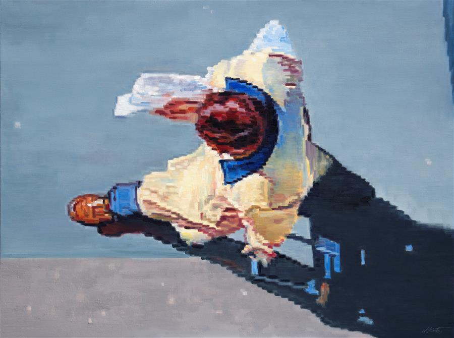 Original art for sale at UGallery.com | Aerial View of a Traveler with Suitcase in Paris by WARREN KEATING | $4,075 | Oil painting | 36' h x 48' w | http://www.ugallery.com/oil-painting-aerial-view-of-a-traveler-with-suitcase-in-paris