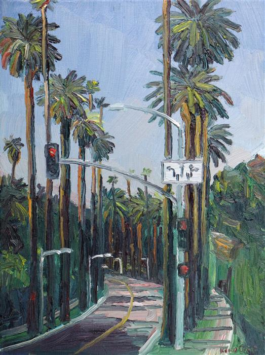Original art for sale at UGallery.com | Beverly Drive, Beverly Hills by JOHN KILDUFF | $550 | Oil painting | 16' h x 12' w | http://www.ugallery.com/oil-painting-beverly-drive-beverly-hills
