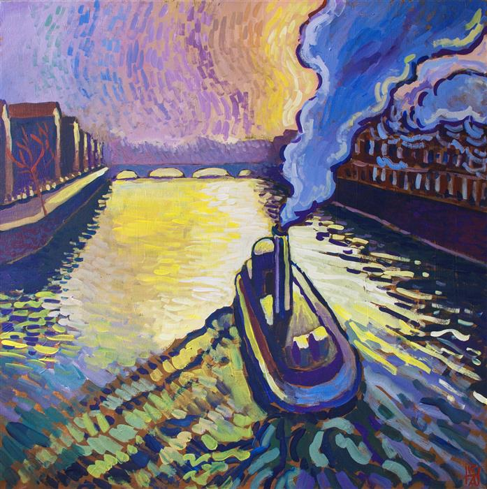 Discover Original Art by Robert Hofherr | Heading Upriver acrylic painting | Art for Sale Online at UGallery