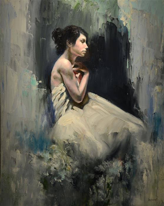 Original art for sale at UGallery.com | Flower Girl by GARY LEONARD | $2,200 | Oil painting | 30' h x 24' w | http://www.ugallery.com/oil-painting-flower-girl