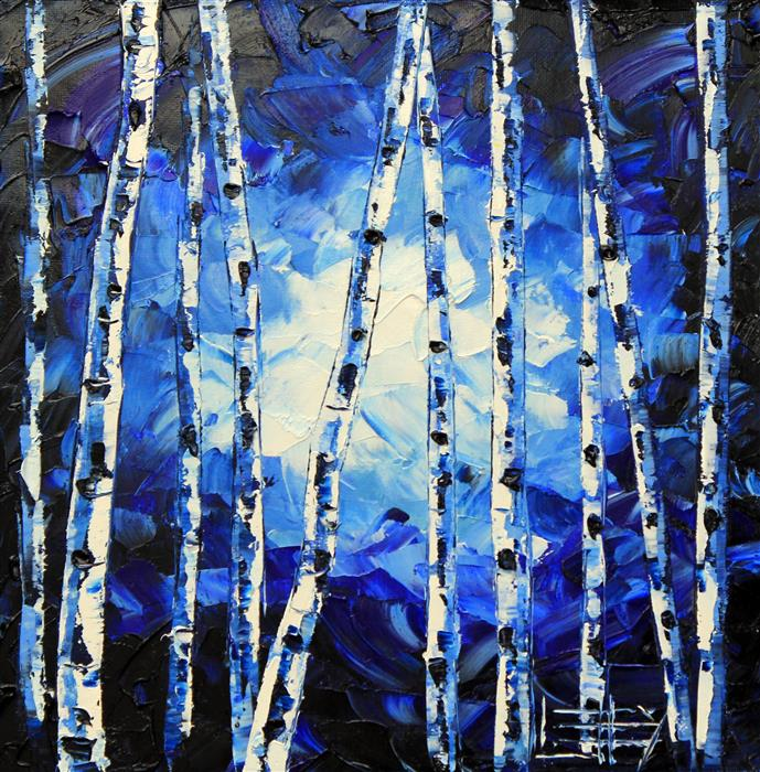 Original art for sale at UGallery.com | Blue Birches by LISA ELLEY | $400 | Oil painting | 12' h x 12' w | http://www.ugallery.com/oil-painting-blue-birches
