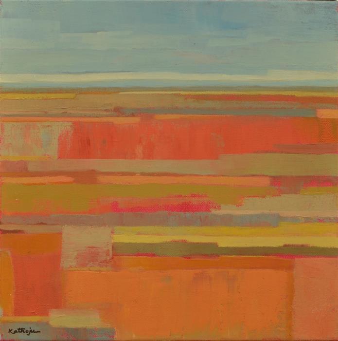 Discover Original Art by Srinivas Kathoju | Orange Fields 1 oil painting | Art for Sale Online at UGallery