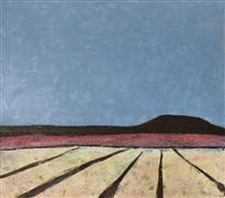 Abstract art,Landscape art,Representational art,Modern  art,encaustic artwork,Yellow Field with Mesa