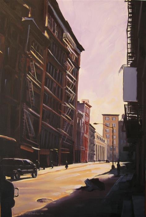 Discover Original Art by Ellen Bradshaw | Sunlight, Lispenard St oil painting | Art for Sale Online at UGallery
