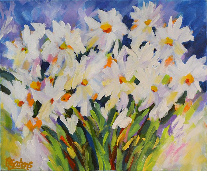 Original art for sale at UGallery.com | Summer Daisies by PAMELA GATENS | $575 | Acrylic painting | 16' h x 20' w | http://www.ugallery.com/acrylic-painting-summer-daisies