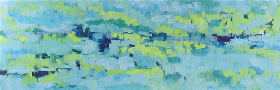 Original art for sale at UGallery.com | Puddling Rain by TAMARA GONDA | $1,350 | Acrylic painting | 12' h x 36' w | http://www.ugallery.com/acrylic-painting-puddling-rain