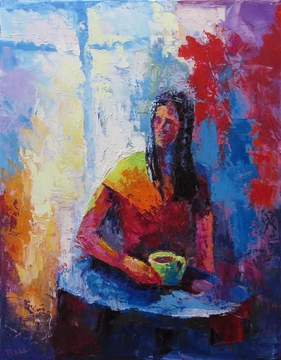 Original art for sale at UGallery.com | Monday Morning Coffee by WELDON BALL | $675 | Oil painting | 20' h x 16' w | http://www.ugallery.com/oil-painting-monday-morning-coffee