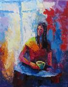 Expressionism art,People art,Representational art,oil painting,Monday Morning Coffee