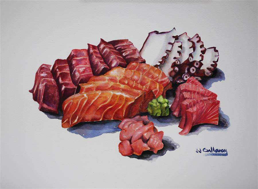 Original art for sale at UGallery.com | Sashimi by JJ GALLOWAY | $350 | Watercolor painting | 9' h x 12' w | http://www.ugallery.com/watercolor-painting-sashimi