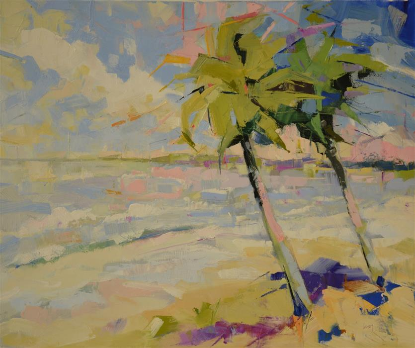 Discover Original Art by Kim McAninch | Palms I oil painting | Art for Sale Online at UGallery