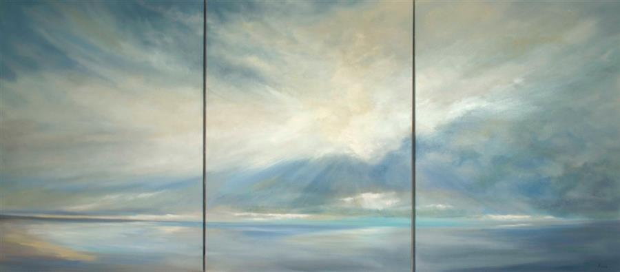 Original art for sale at UGallery.com | Heavenly Light XII by SHEILA FINCH | $18,225 | Oil painting | 48' h x 108' w | http://www.ugallery.com/oil-painting-heavenly-light-xii