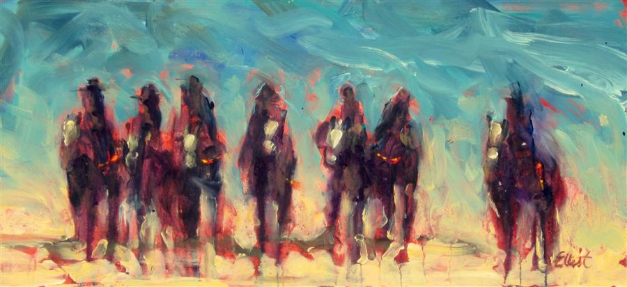 Original art for sale at UGallery.com | Dripping Horses 16-B by ELLIOT COATNEY | $500 | Acrylic painting | 11' h x 24' w | http://www.ugallery.com/acrylic-painting-dripping-horses-16-b