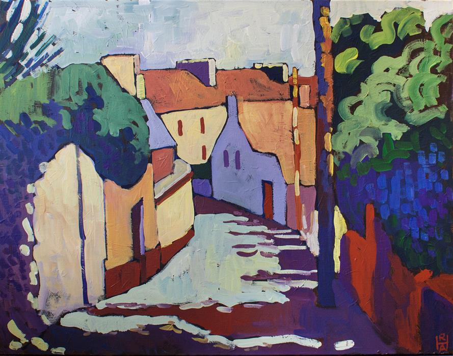 Original art for sale at UGallery.com | Irish Village by ROBERT HOFHERR | $975 | Acrylic painting | 22' h x 28' w | http://www.ugallery.com/acrylic-painting-irish-village
