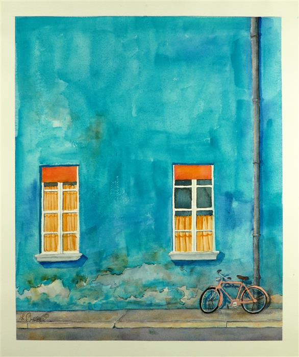 Discover Original Art by Nancy Muren | Teal Travels watercolor painting | Art for Sale Online at UGallery