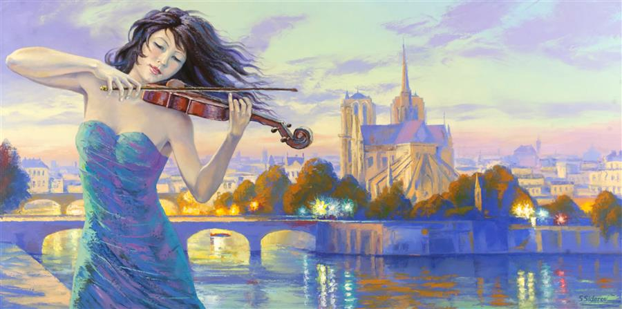 Discover Original Art by Stanislav Sidorov | Nocturne in Purple, Notre Dame de Paris oil painting | Art for Sale Online at UGallery