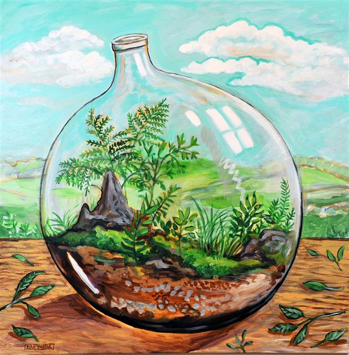 Discover Original Art by Kira Yustak | Terrarium acrylic painting | Art for Sale Online at UGallery