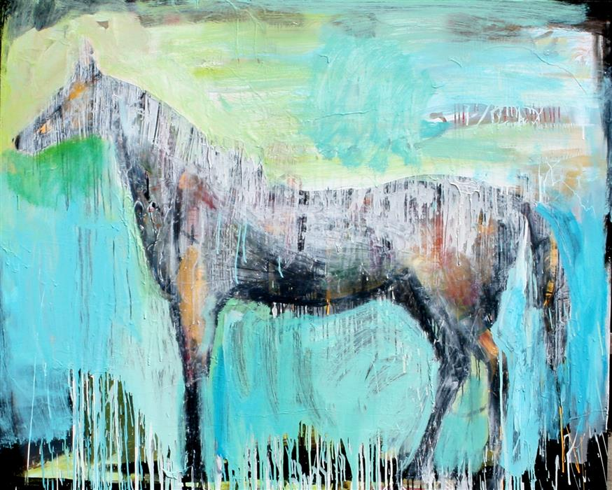 Discover Original Art by Scott Dykema | A Soft Light Horse with Drips mixed media artwork | Art for Sale Online at UGallery