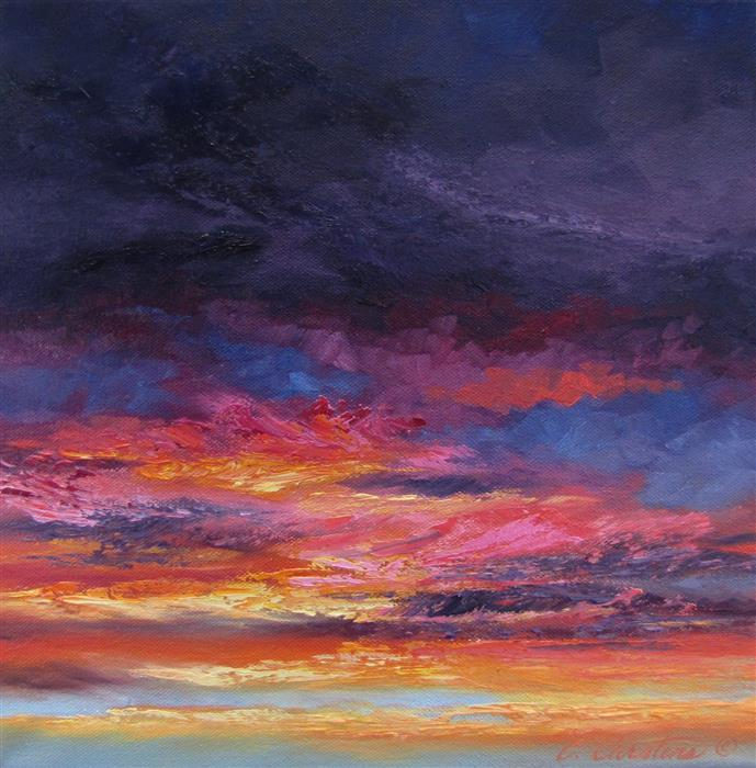 Original art for sale at UGallery.com | Pomegranate Evening by CYNDY CARSTENS | $450 | Oil painting | 12' h x 12' w | http://www.ugallery.com/oil-painting-pomegranate-evening