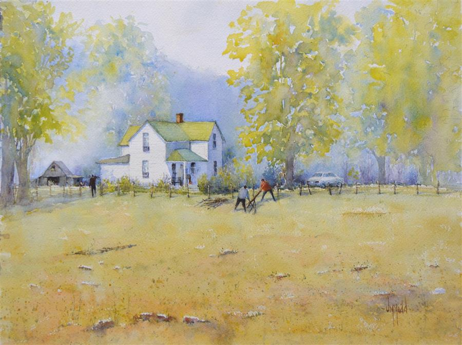 Original art for sale at UGallery.com | Clearing the Field by JUDY MUDD | $625 | Watercolor painting | 12' h x 16' w | http://www.ugallery.com/watercolor-painting-clearing-the-field