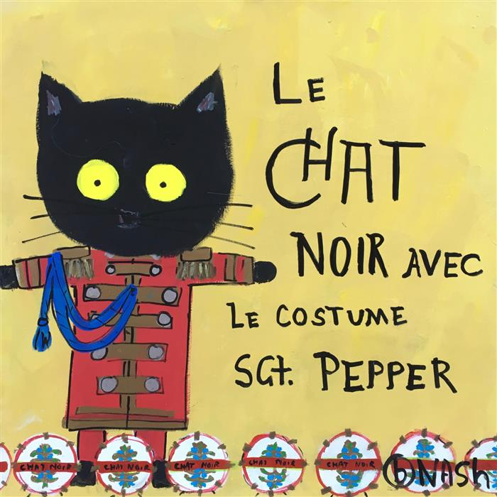 Original art for sale at UGallery.com | Le Chat Noir Avec le Costume Sgt Pepper by BRIAN NASH | $1,575 | Acrylic painting | 36' h x 36' w | http://www.ugallery.com/acrylic-painting-le-chat-noir-avec-le-costume-sgt-pepper