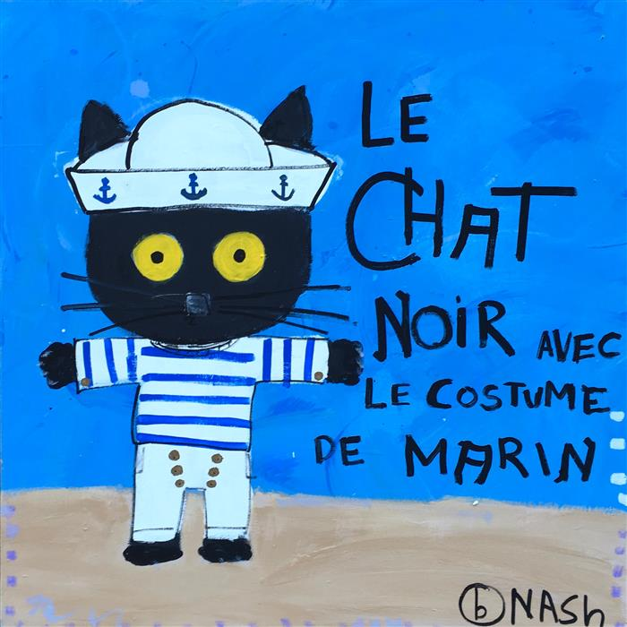 Original art for sale at UGallery.com | Le Chat Noir Avec le Costume de Marin by BRIAN NASH | $1,575 | Acrylic painting | 36' h x 36' w | http://www.ugallery.com/acrylic-painting-le-chat-noir-avec-le-costume-de-marin