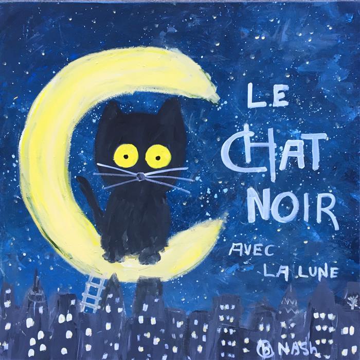 Discover Original Art by Brian Nash | Le Chat Noir Avec La Lune acrylic painting | Art for Sale Online at UGallery