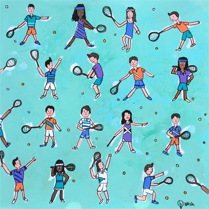 Discover Original Art by Brian Nash | Tennis, Anyone? acrylic painting | Art for Sale Online at UGallery