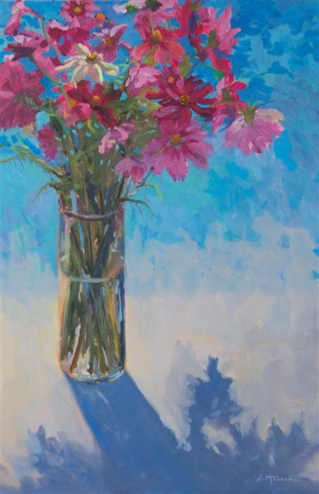 Original art for sale at UGallery.com | Cosmos by the Pool by JANET HOWARD-FATTA | $950 | Oil painting | 25' h x 17' w | http://www.ugallery.com/oil-painting-cosmos-by-the-pool