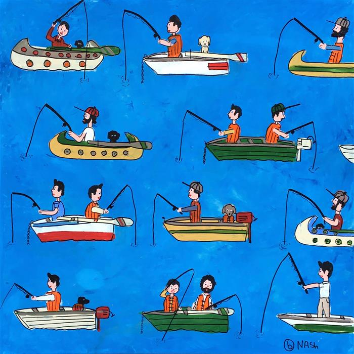 Original art for sale at UGallery.com | Gone Fishing by BRIAN NASH | $1,575 | Acrylic painting | 36' h x 36' w | http://www.ugallery.com/acrylic-painting-gone-fishing