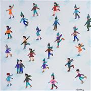 People art,Sports art,Representational art,acrylic painting,Skaters