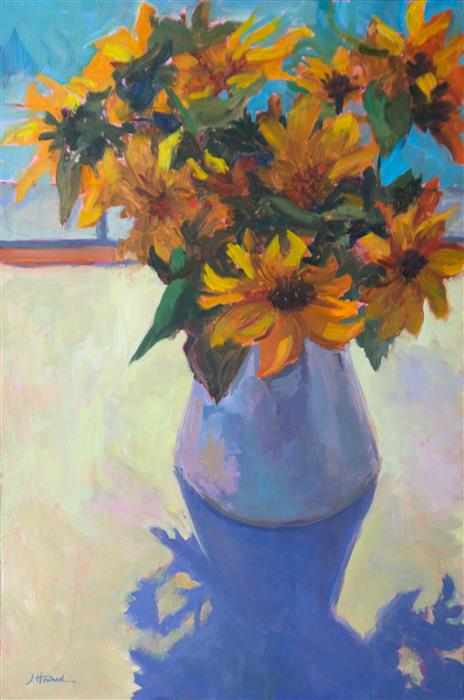 Original art for sale at UGallery.com | Sunflowers in Vase by JANET HOWARD-FATTA | $950 | Oil painting | 25' h x 17' w | http://www.ugallery.com/oil-painting-sunflowers-in-vase