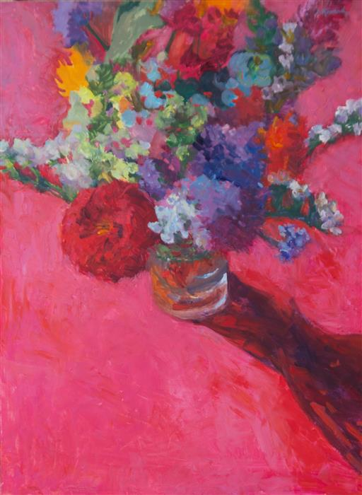 Original art for sale at UGallery.com | Pink Bouquet by JANET HOWARD-FATTA | $1,050 | Oil painting | 25' h x 19' w | http://www.ugallery.com/oil-painting-pink-bouquet