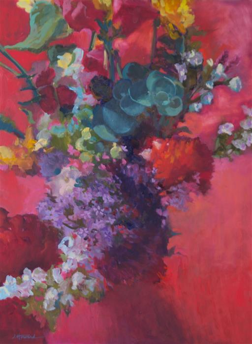 Original art for sale at UGallery.com   Pink Eucalyptus Bouquet by JANET HOWARD-FATTA   $1,050   Oil painting   25' h x 19' w   http://www.ugallery.com/oil-painting-pink-eucalyptus-bouquet