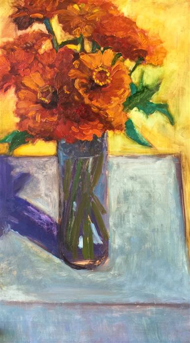 Original art for sale at UGallery.com | Orange Zinnias on Table by JANET HOWARD-FATTA | $800 | Oil painting | 25' h x 15' w | http://www.ugallery.com/oil-painting-orange-zinnias-on-table