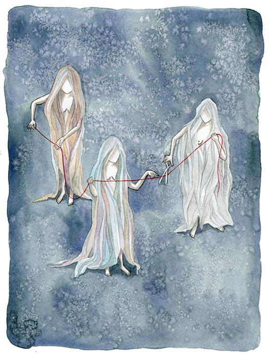 Discover Original Art by Chamisa Kellogg | The Moirai: Clotho, Lachesis and Atropos watercolor painting | Art for Sale Online at UGallery