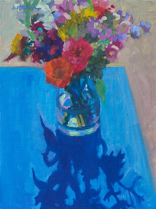 Original art for sale at UGallery.com | Bouquet on Blue by JANET HOWARD-FATTA | $450 | Oil painting | 13.5' h x 10.5' w | http://www.ugallery.com/oil-painting-bouquet-on-blue