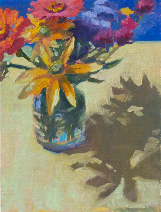 Original art for sale at UGallery.com   Bouquet on Yellow by JANET HOWARD-FATTA   $450   Oil painting   13.5' h x 10.5' w   http://www.ugallery.com/oil-painting-bouquet-on-yellow