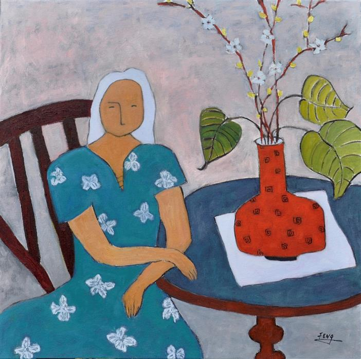 Original art for sale at UGallery.com | Woman and Orange Vase by FENG BIDDLE | $1,225 | Oil painting | 30' h x 30' w | http://www.ugallery.com/oil-painting-woman-and-orange-vase