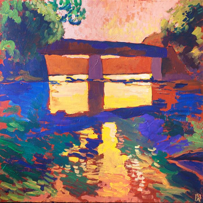 Original art for sale at UGallery.com | Susquehanna Railroad Trestle by ROBERT HOFHERR | $950 | Acrylic painting | 24' h x 24' w | http://www.ugallery.com/acrylic-painting-susquehanna-railroad-trestle